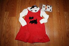 NWT Girls GYMBOREE 3 Pc Ivory Shirt Red Corduroy Dog Dress Set Size 3T