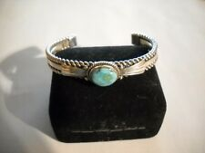 ~Heavy! Southwestern Sterling Silver Detailed Turquoise Cuff 33.4 Grams~