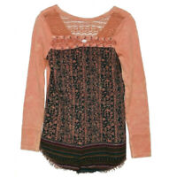 Gimmiks by Bke Women's Top Long Sleeve Tee Crochet Distressed Size XS X-Small