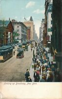 NEW YORK CITY – Looking Up Broadway showing Streetcars, Horses and Carriages-udb