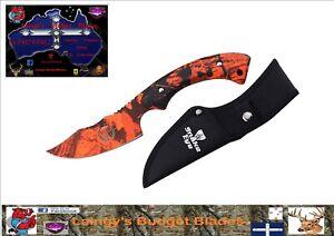 Snake Eye Orange Camo Skinning Knife