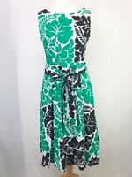 Phase Eight Black Green & White Floral Fit & Flare A-line Dress Tie Belt UK 12