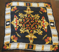 "LALIQUE PARIS Large 53"" Silk Scarf - Perles De Fruits - Cherries and Pearls"