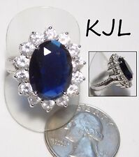 Signed KJL Ring, Large Blue Simulated Sapphire, Princess DIANA Engagement, 10