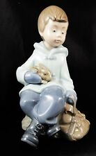 Cute Lladro Nao Figure Boy Resting on Excursion with Rabbit