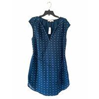 Ann Taylor Loft Blue Textured Print Tie Wast Mini Dress NWT Womens Size Small