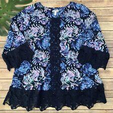 Isaac Mizrahi Live Tunic Top Size XL Blue Purple Floral Lace Trim Stretch
