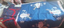 Vintage Christmas Set And Embroidered Snowman Cloth Scandinavian Straw Reindeer