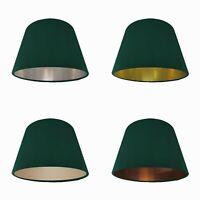 Deep Green Velvet Empire Lampshade Tapered Lightshade Metallic Lining Conical