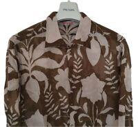 Mens PRADA olive green flora print long sleeve shirt size 2XL/XL....RRP £495