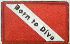SCUBA Flag Embroidered Iron-On Patch Born to Dive Emblem Red Border
