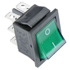 Green illuminated On-Off Rectangle Rocker Switch 220V DPDT