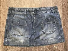 Woman's American Eagle Size 8 Denim Blue 100% Cotton Denim Jean Skirt-CUTE!