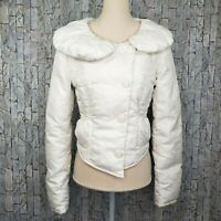 Arden B White Embossed Floral Cropped Down Jacket Coat Size Small Womens Ski