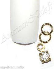 Piercing bijoux d'Ongle Strass SWAROVSKI Cristal Doré 3 mm Nail Art