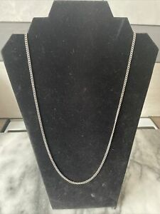 Vintage Mens silver curb chain .925 26in