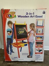 Writing and Drawing Kids Wooden Art Easel Coloring Board Set with 3 Storage Bins