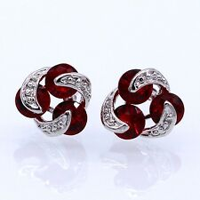 Women Earrings Red Crystal CZ 18K White Gold Plated ZN Stud Earrings