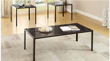 3 PC OCCASIONAL COFFEE TABLE SET BLACK GLASS TOP METAL FRAME ANTIQUE PEWTER