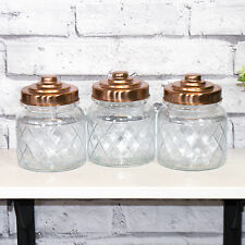 3 x Glass Storage Jars Copper Lids Tea Coffee Sugar Canisters Kitchen Containers