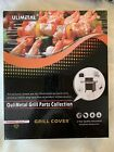 """Grill Cover 43""""x31""""x20"""" Tube At Top For Smoker Black Canvas"""