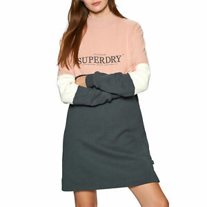 Superdry Nyc Times Colourblock Womens Skirt/dress Dress - Iron Gate All Sizes