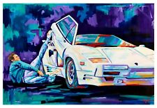 Wolf of wall street with Lamborghini art print 18x12 original artwork  Xilberto