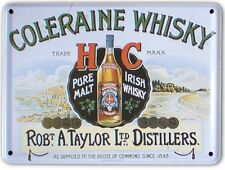 COLERAINE IRISH MALT WHISKEY Small Metal Tin Pub Sign