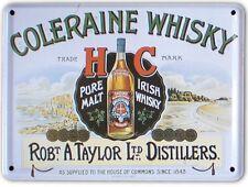 COLERAINE IRISH MALT WHISKEY Small Metal Tin Pub Sign