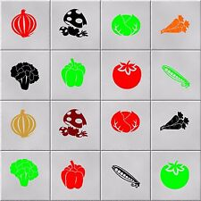 VEGETABLE TILE STICKERS (decals) - can be applied to glass, walls, flat surfaces