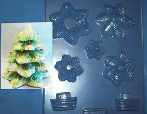 MEDIUM SIZED ASSEMBLED 3D CHRISTMAS TREE CHOCOLATE MOULD OR PLASTER MOULD