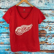 Nhl Red Wings Womens V Neck Red T Shirt Large Short Sleeve