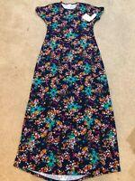 NWT Lularoe Navy Blue Aztec Floral Geometric Print Women XS Maxi Maria Dress