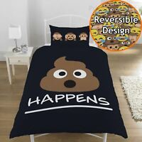 EMOJI MR POO SINGLE DUVET COVER SET BLACK REVERSIBLE KIDS TEENAGER SH*T HAPPENS