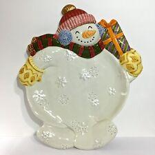 "Fitz & Floyd Classics ""Frosty Folks"" Snowman Cookie Canape Plate Platter Dish"