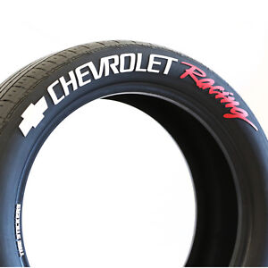 Chevrolet Racing w/ Bow tie- Permanent Tire Stickers -1.50in - 19in-21in 8-pack