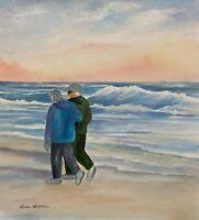 "14 x 13 ORIGINAL WATERCOLOR PAINTING ART  ""SUNSETOF LIFE "" SEASCAPE BEACH SUNSET"