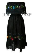BLACK Mexican Peasant Off Shoulder Dress Fits Med-XL Embroidered Floral Crochet