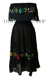 BLACK Mexican Peasant Off Shoulder Dress Fits Med-XL Embroidered Floral Crochet