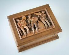 Vintage Reuge Carved Wooden Music Box Swiss Musical Movement Made in W Germany