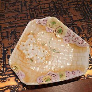 Geranium Ware Basket Weave Floral Dish