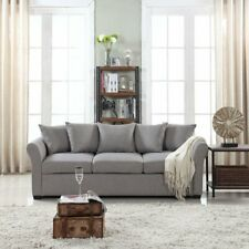 Modern Living Room Family Room Sofa, Classic Fabric Couch, Light Grey