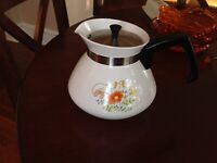 Vintage Corning Ware Wildflowers Coffee/Tea Pot With Silver Lid, 6 Cup,P-104