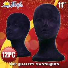 HALLOWEEN 12PC STYROFOAM FOAM black velvet MANNEQUIN MANIKIN head display wig