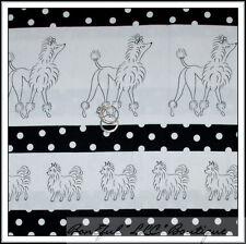 BonEful Fabric FQ Cotton Quilt VTG B&W White French POODLE Puppy DOG Stripe Dot