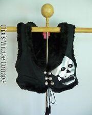 BETSEY JOHNSON ......RARE Faux Fur Knit SKULL Goth Punk Sweater Vest Top M/L