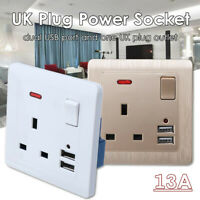 13A UK Plug Power Socket Dual USB Wall AC DC Charger Switch Outlet Adapter