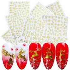 Christmas Gold 3D Nail Stickers Snowflake Nail Art DIY Decoration Decals .