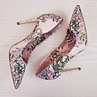 GUESS Womens Size 6.5 Pointed Toe Floral Pump Stiletto Heel Retro Pink Braylea 3