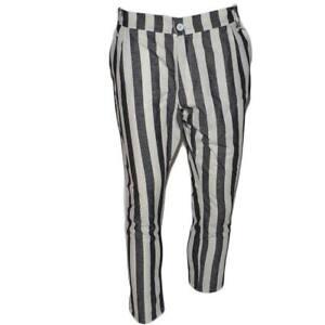 Pantaloni chino uomo di puro lino bianchi e grigi a striscia con bottone e tasch